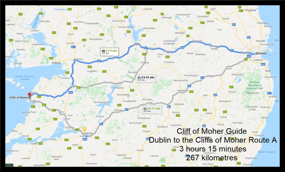 Dublin to the cliffs of Moher map 1