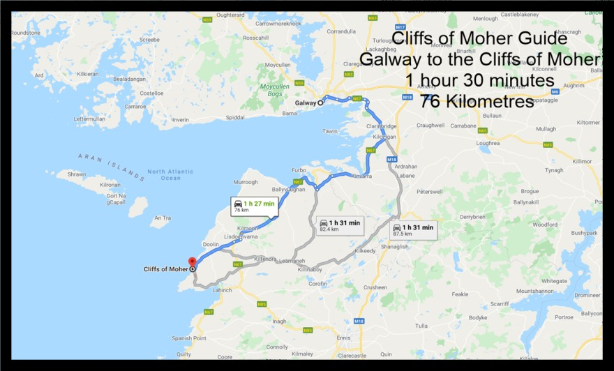 Galway to the cliffs of moher map
