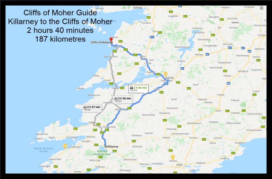 Killarney to tthe cliffs of moher map