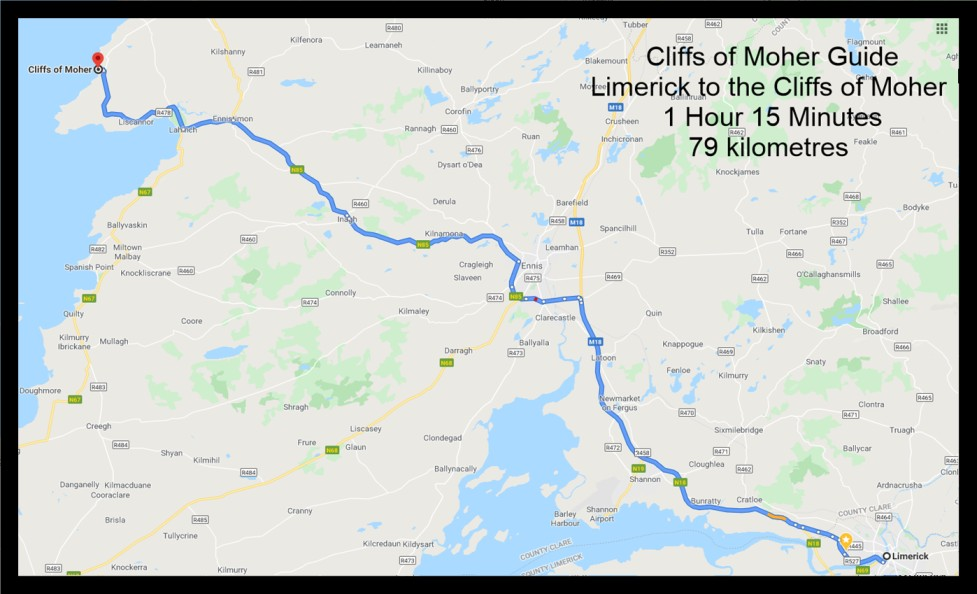 Limerick to the Cliffs of Moher map