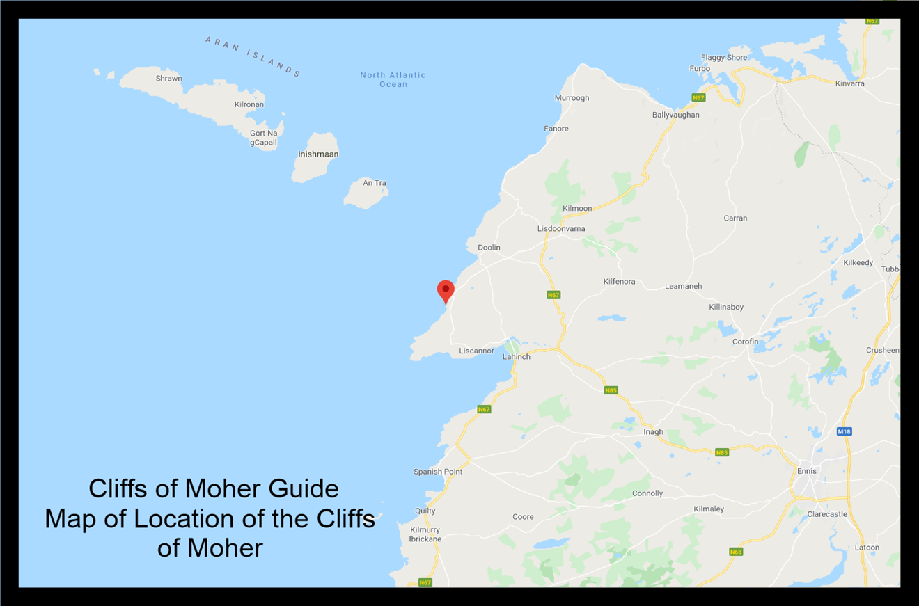 Map of location of the cliffs of moher